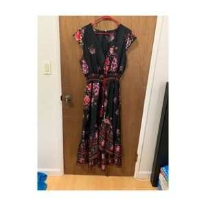 Peacock print High-low Dress